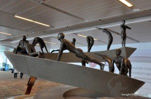 sun salutation statue in Delhi airport