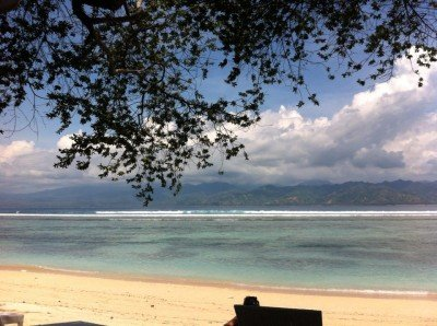 Looking back at Lombok from the southeast coast of Gili Trawangan.