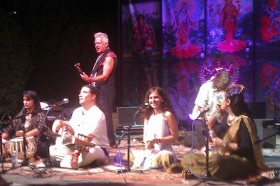 Cheryl Chaffee on the main stage at Bhakti Fest.