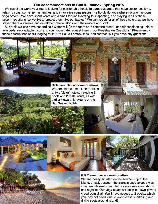 2015 Bali and Lombok accommodation fact SHEET ONE